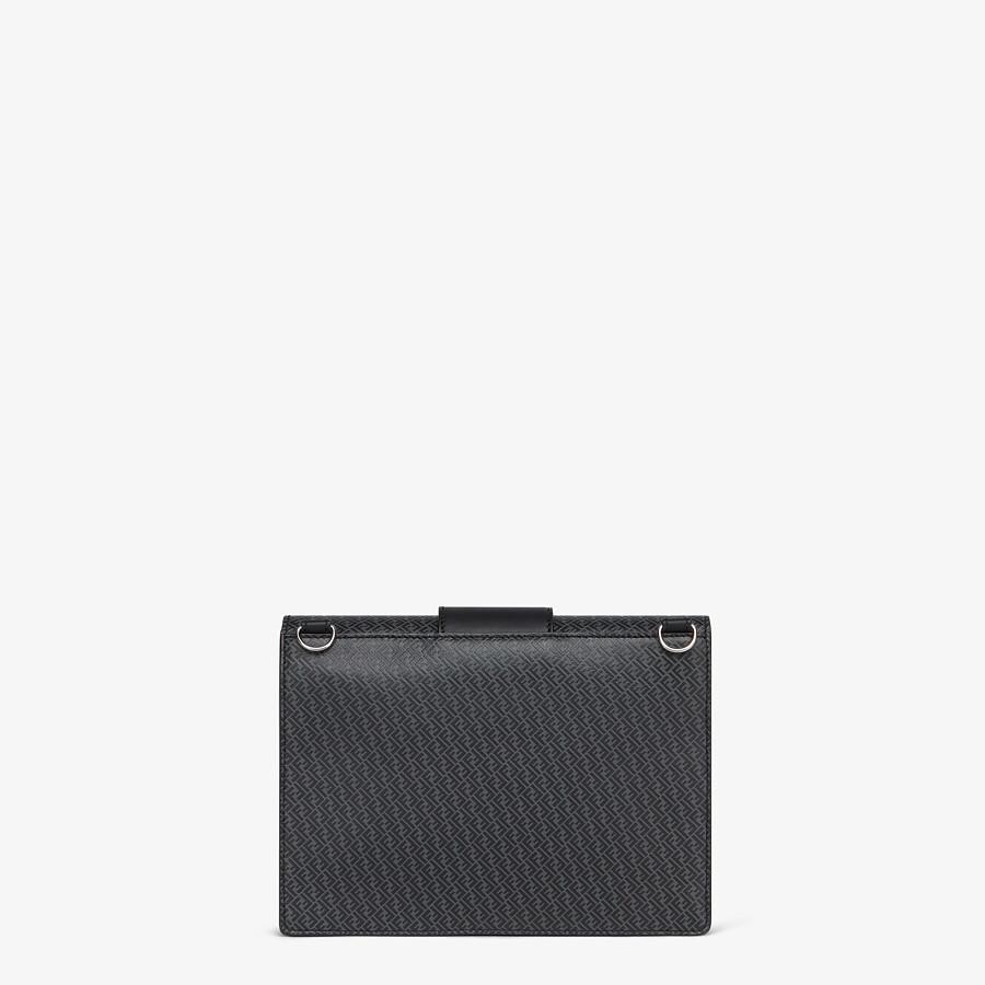 FENDI FLAT BAGUETTE - Dark gray leather bag - view 3 detail