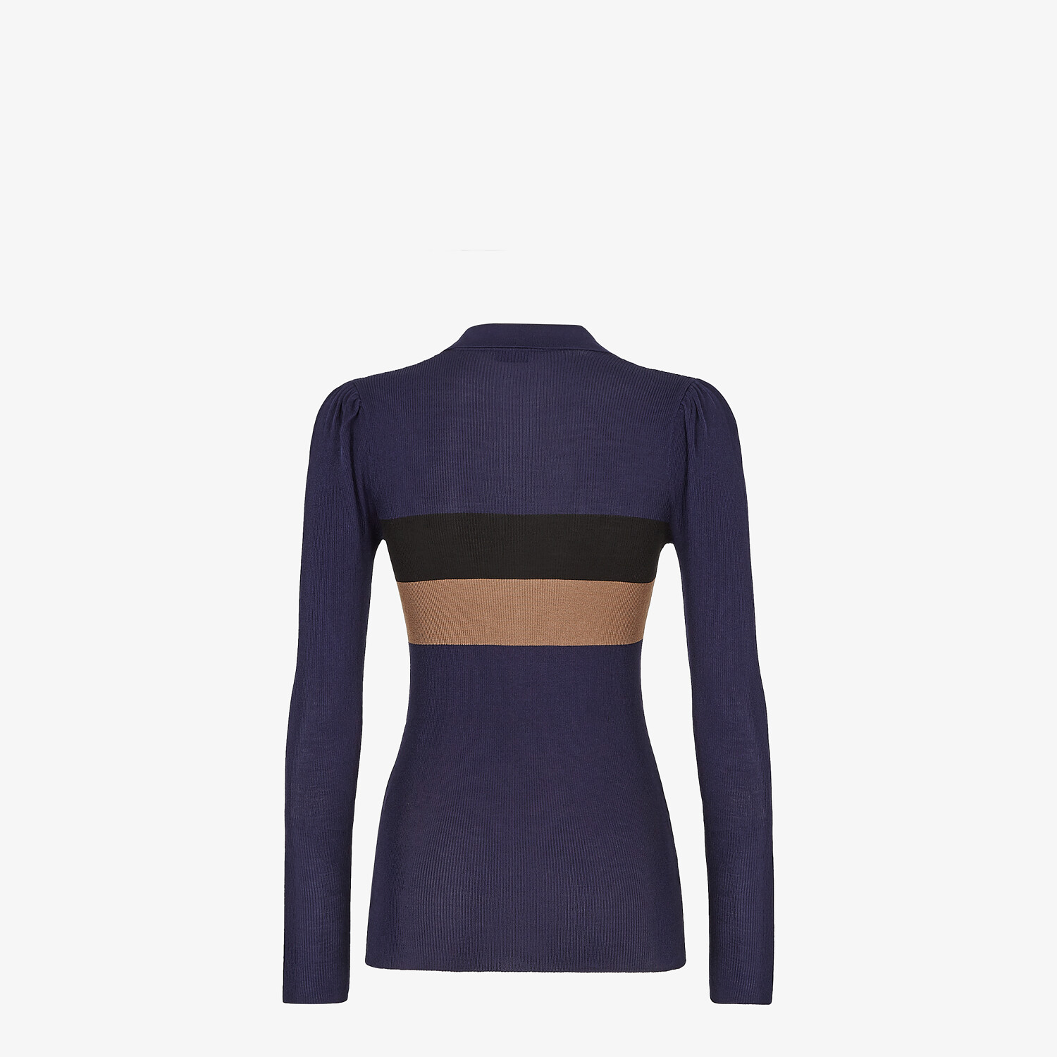 FENDI PULLOVER - Blue silk polo shirt - view 2 detail