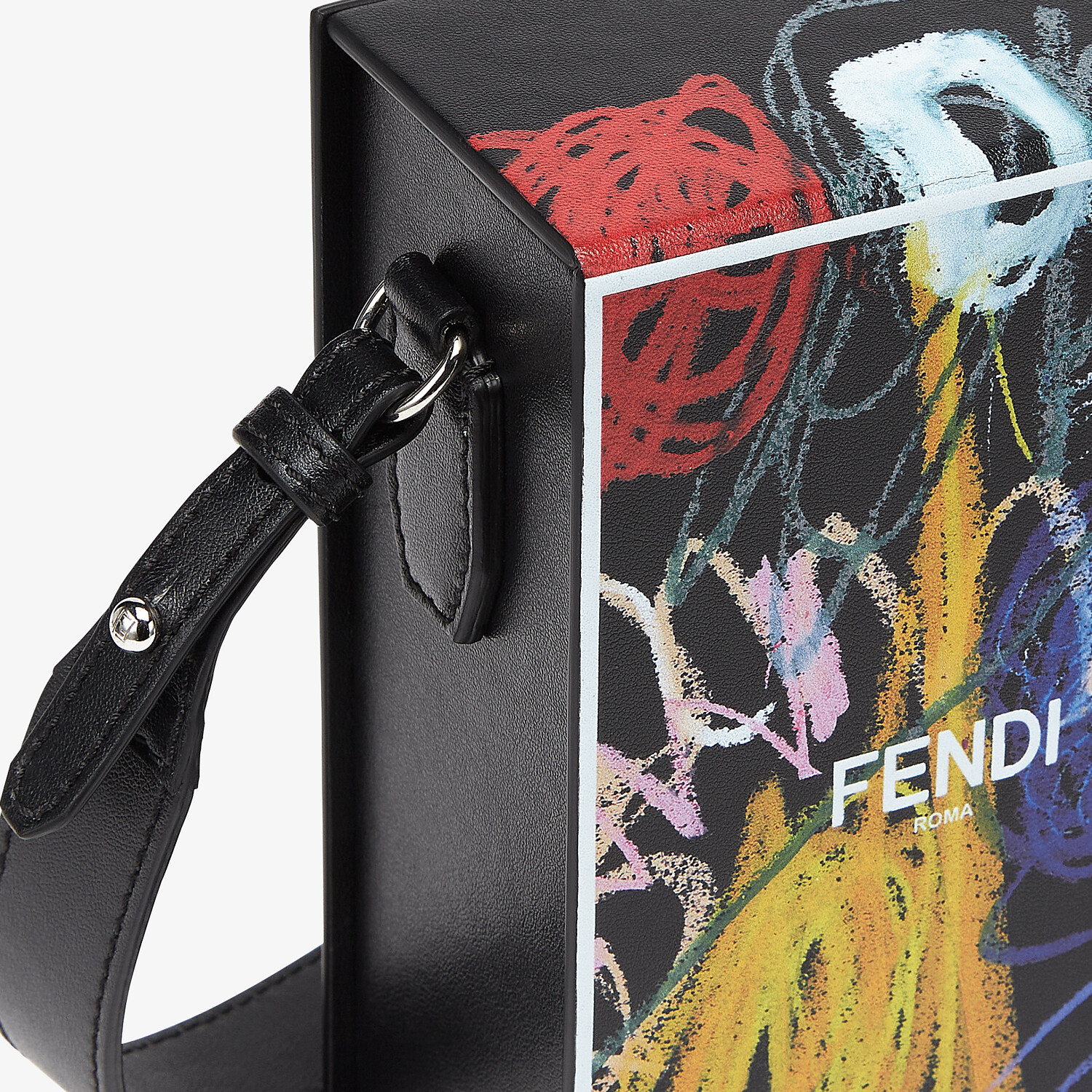FENDI VERTICAL BOX - Leather bag with multicolor print - view 5 detail