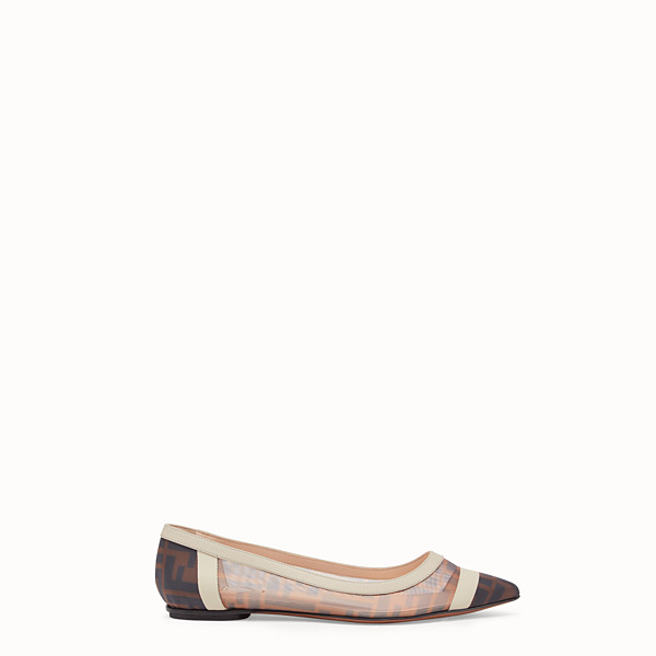 FENDI BALLERINAS - Flat in mesh and white leather - view 1 small thumbnail
