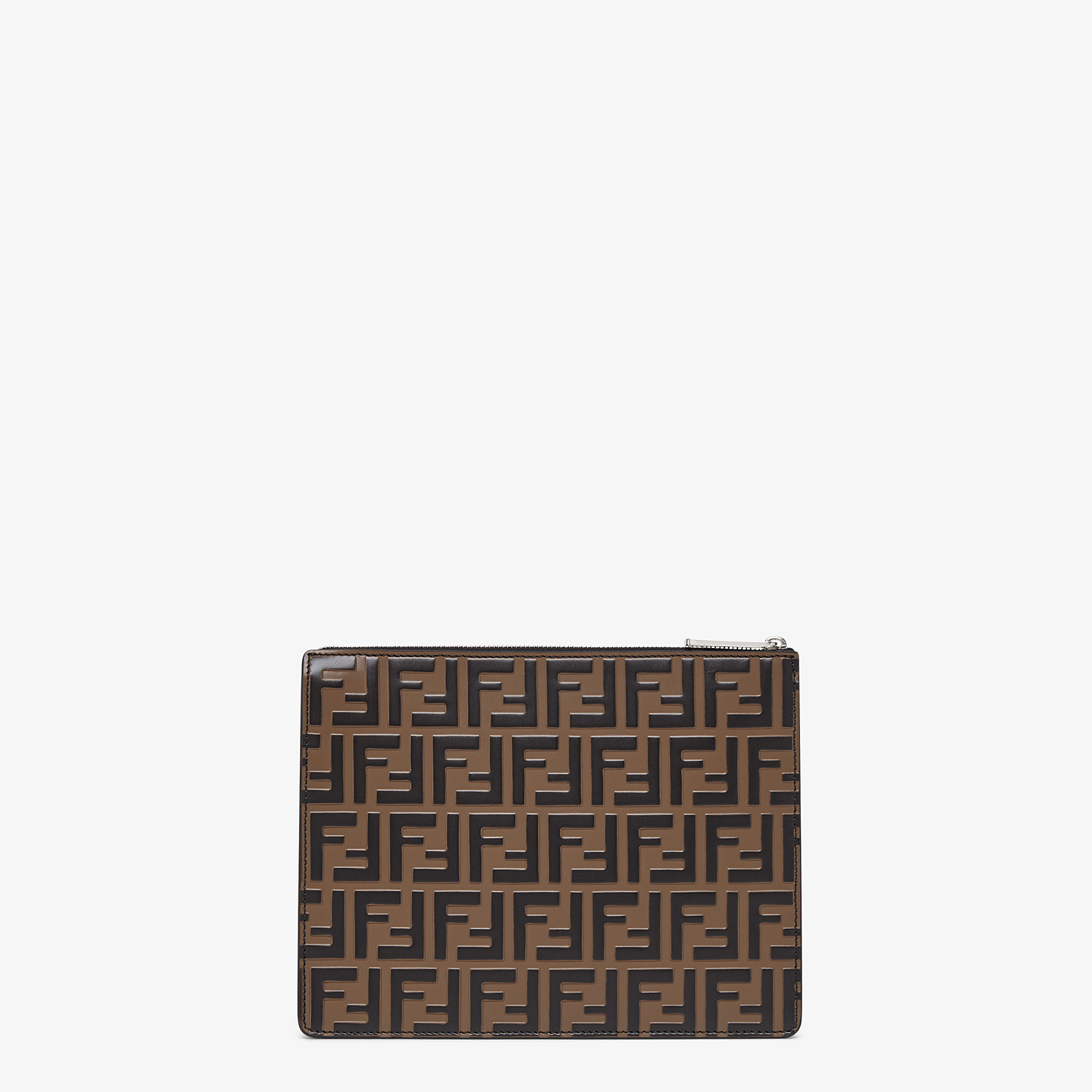 FENDI CLUTCH - Brown leather slim pouch - view 3 detail