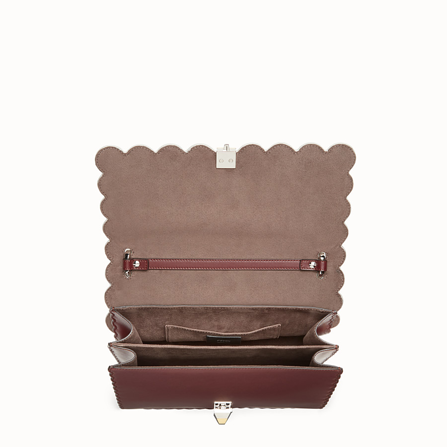 FENDI KAN I - Burgundy leather and python handbag - view 4 detail
