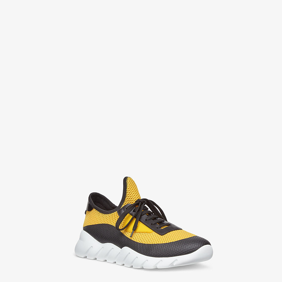 FENDI SNEAKERS - Yellow tech mesh running shoes - view 2 detail
