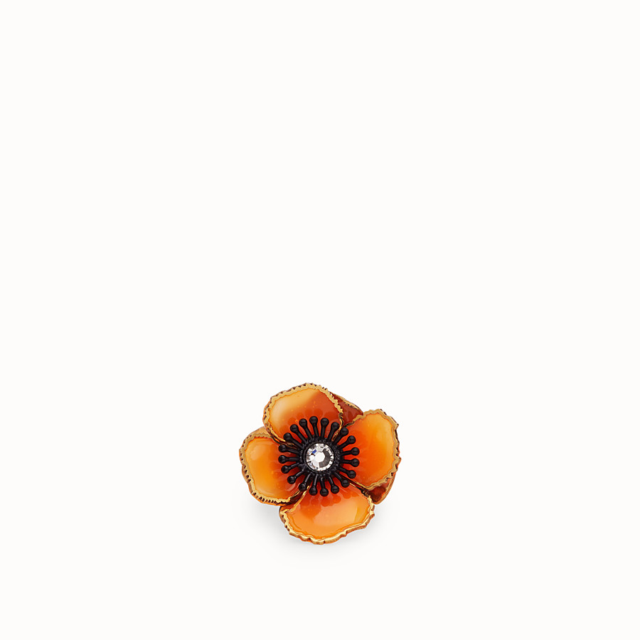 FENDI FLOWERS RING - Orange enamel ring - view 2 detail