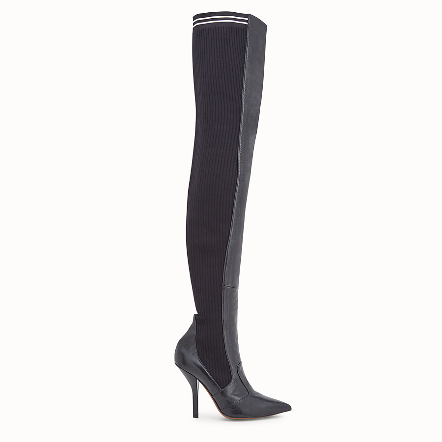 19edd10085b Black leather thigh-high boots - BOOTS