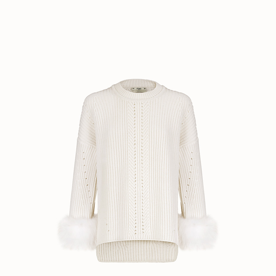 FENDI PULLOVER - White cashmere jumper - view 1 detail