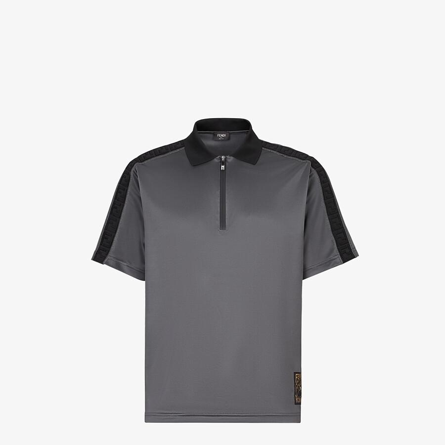 FENDI POLO SHIRT - Grey fabric polo shirt - view 1 detail