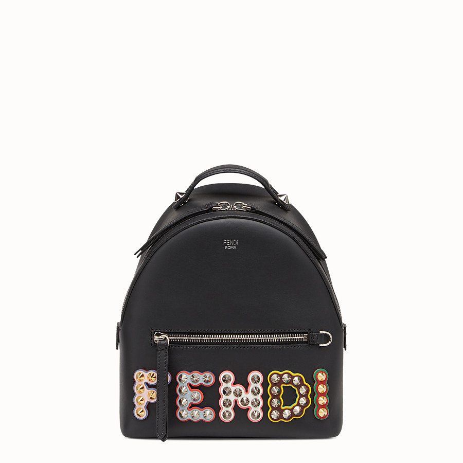 FENDI BACKPACK MINI - Small black leather backpack - view 1 detail