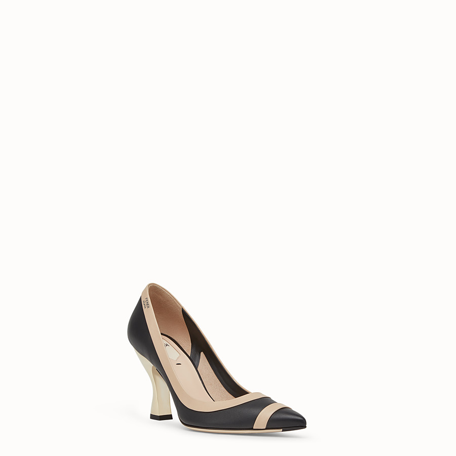 FENDI COURT SHOES - Black nappa leather court shoes - view 2 detail