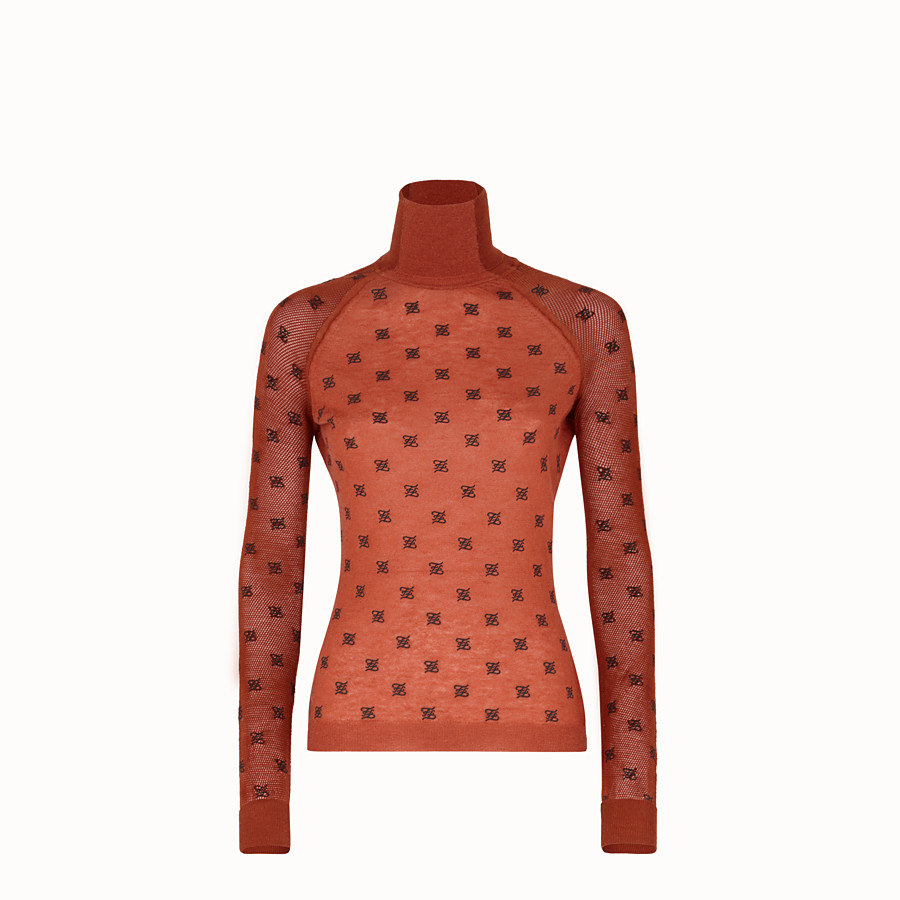 FENDI PULLOVER - Brown silk and wool jumper - view 1 detail