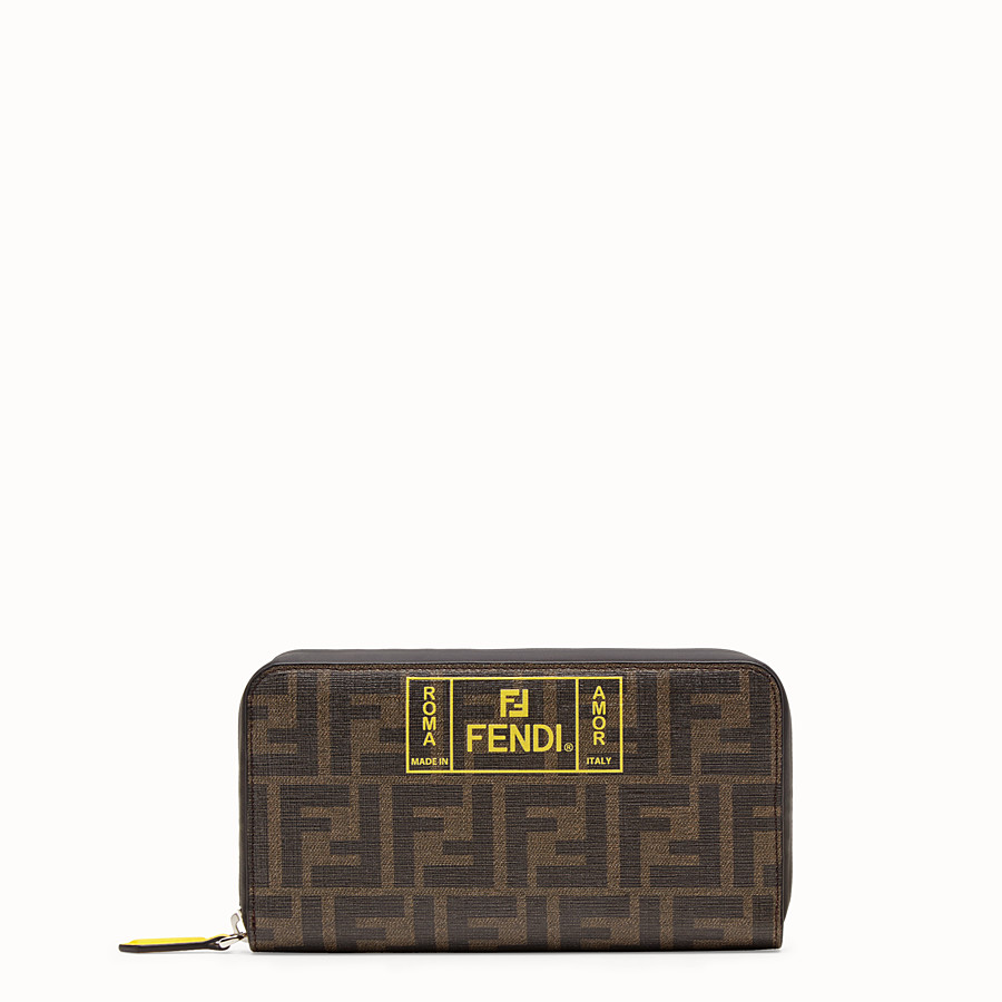 FENDI ZIP-AROUND - Brown fabric wallet - view 1 detail
