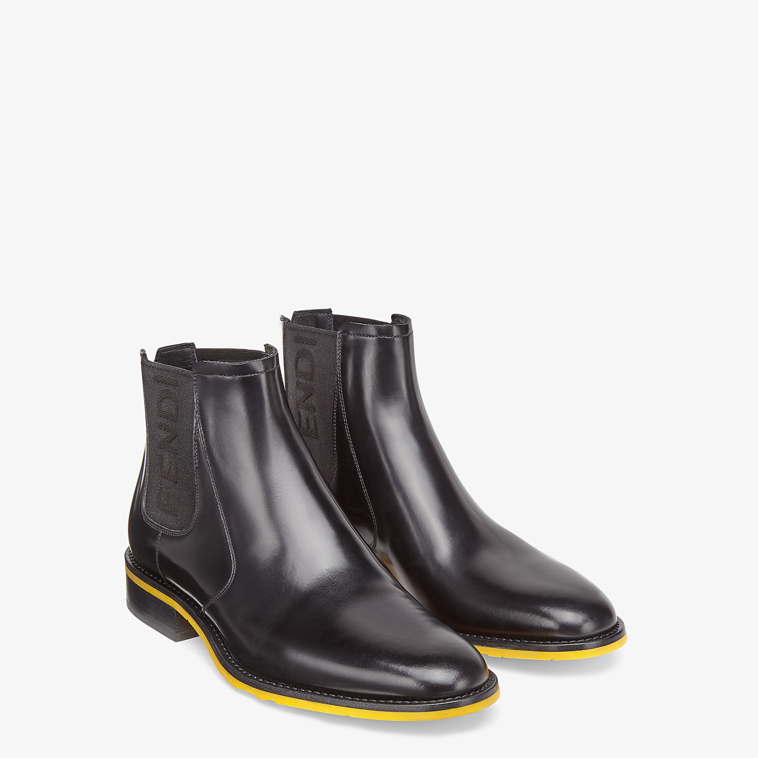 FENDI ANKLE BOOTS - Black leather Chelsea boots - view 4 detail