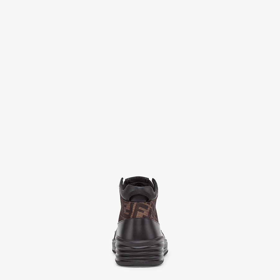 FENDI SNEAKERS - Black leather mid-top - view 3 detail