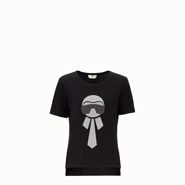 FENDI T-SHIRT - Black cotton T-shirt - view 1 small thumbnail