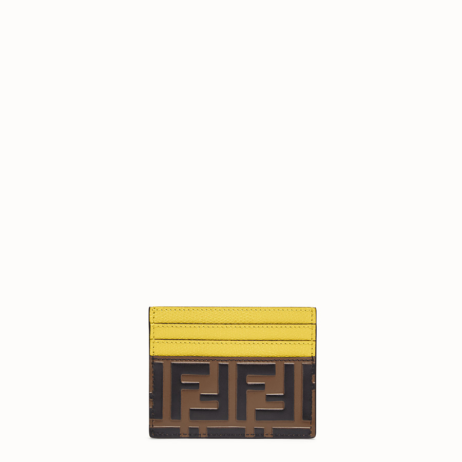 FENDI CARD HOLDER - Yellow leather flat card holder - view 1 detail