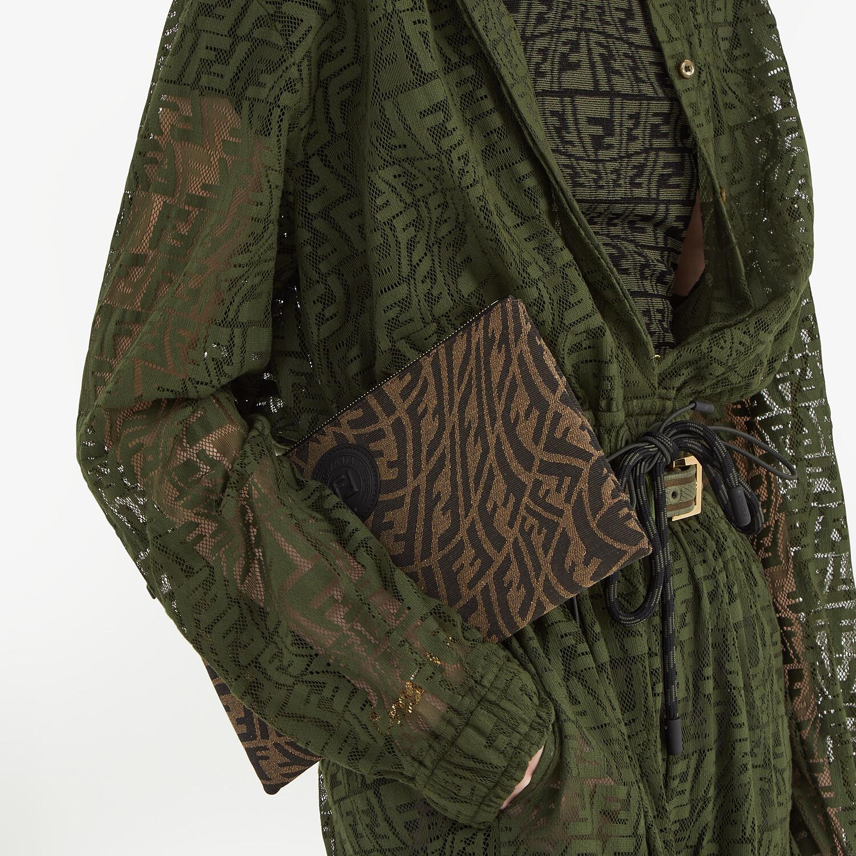 FENDI MEDIUM FLAT POUCH - Brown fabric pouch - view 4 detail