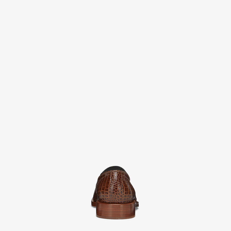 FENDI LOAFERS - Brown leather loafers - view 3 detail