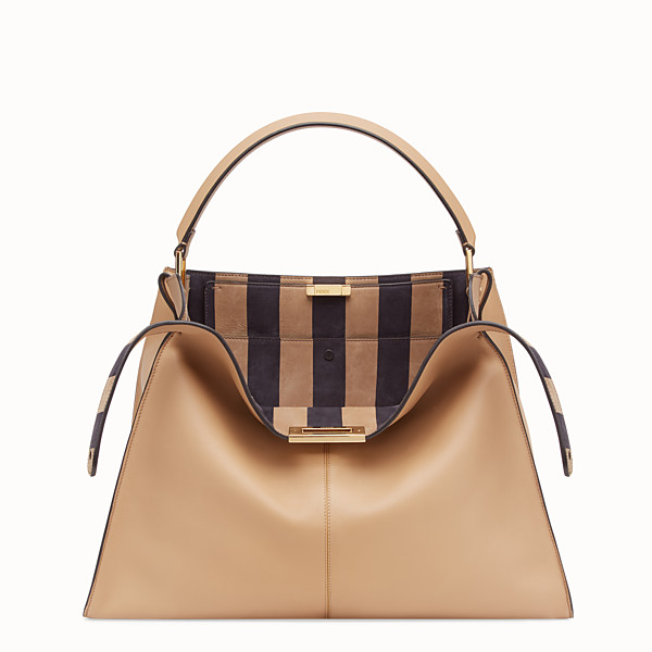 FENDI PEEKABOO X-LITE LARGE - Borsa in pelle marrone - vista 1 thumbnail piccola