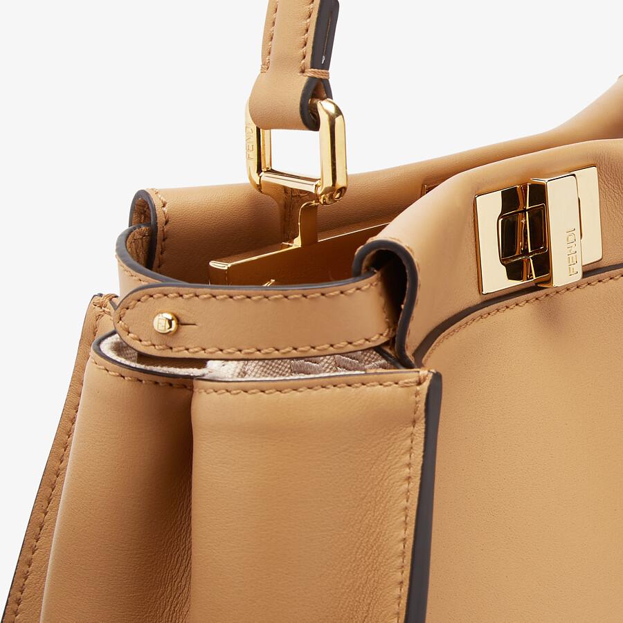 FENDI PEEKABOO MINI - Beige leather bag - view 5 detail