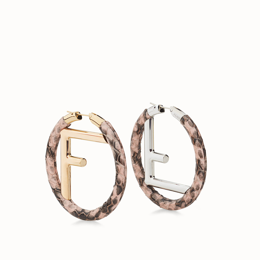 FENDI F IS FENDI EARRINGS - Pink elaphe earrings - view 1 detail