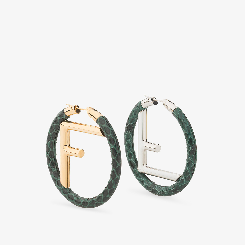 FENDI F IS FENDI EARRINGS - Green elaphe earrings - view 1 detail