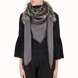 FENDI TOUCH OF FUR SHAWL - Grey silk and wool shawl - view 3 thumbnail