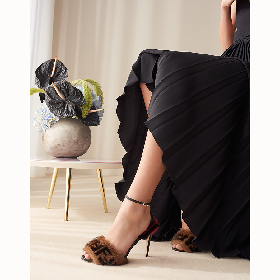 FENDI SANDALS - Black leather high sandals - view 5 detail