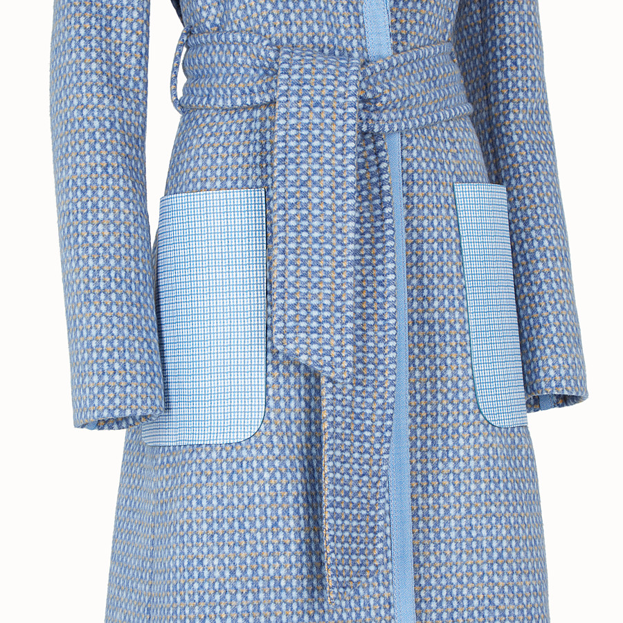 FENDI OVERCOAT - Pale blue wool trench coat - view 3 detail