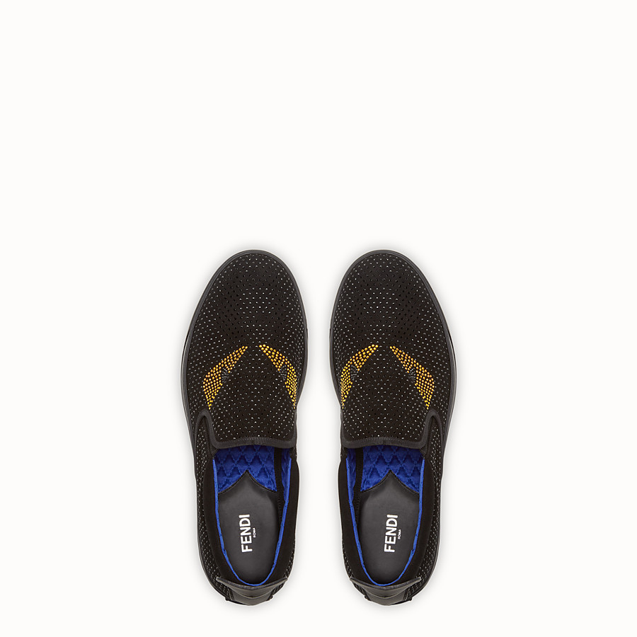 FENDI SNEAKER - Black suede slip-ons with inserts - view 4 detail