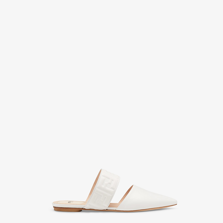 FENDI SABOTS - White leather mules - view 1 detail