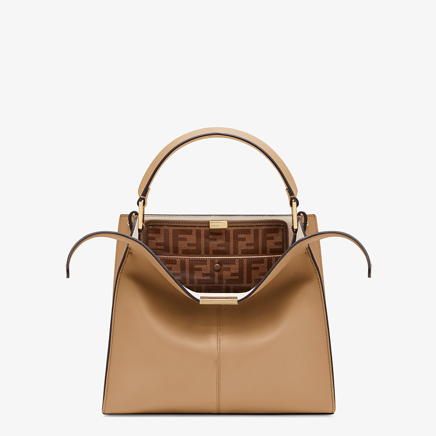 FENDI MEDIUM PEEKABOO X-LITE - Beige leather bag - view 1 detail