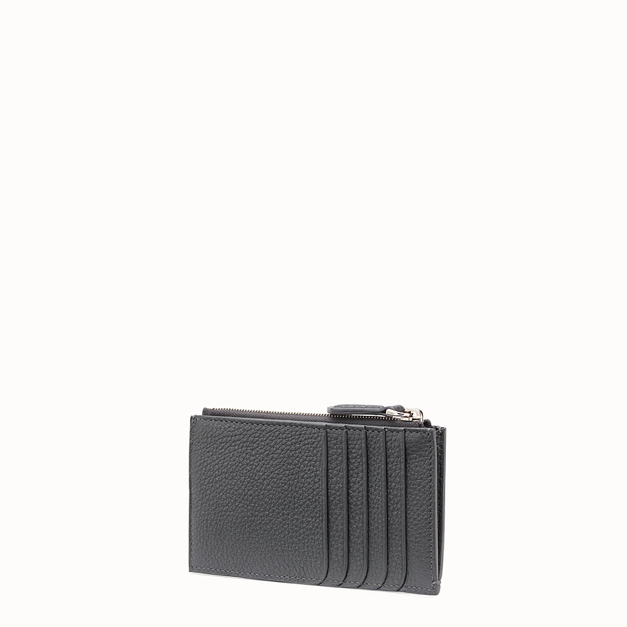 FENDI CARD HOLDER - Grey leather cardholder - view 2 detail