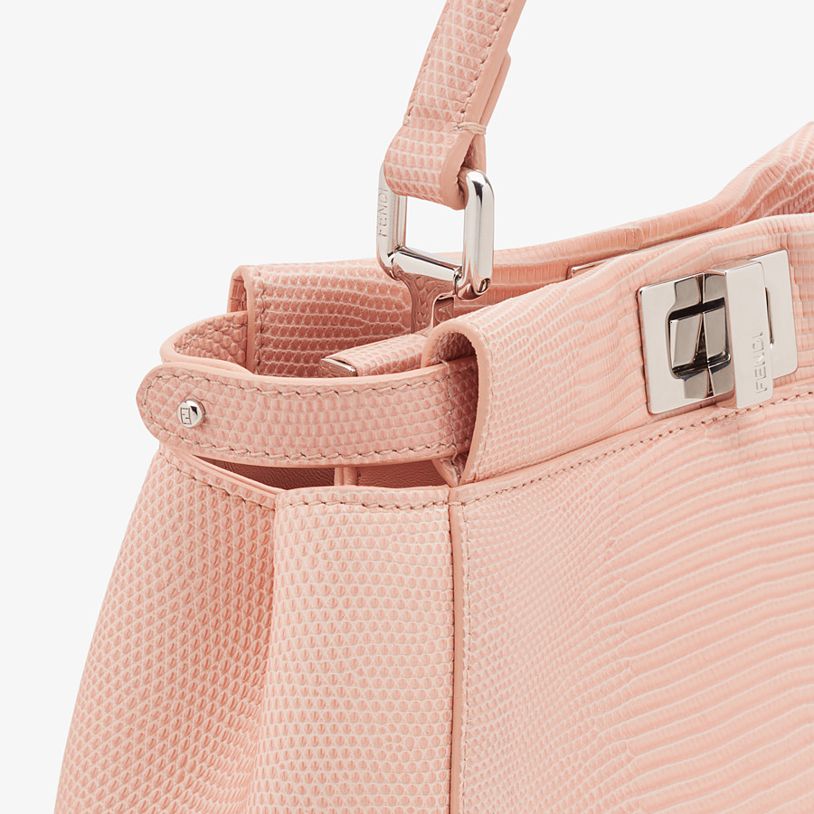 FENDI PEEKABOO ICONIC MINI - Pink lizard leather bag - view 5 detail