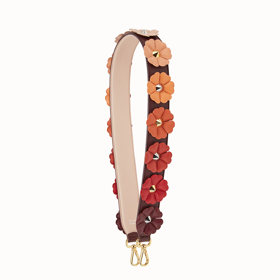 FENDI STRAP YOU - Shoulder strap in burgundy leather with flowers - view 1 detail