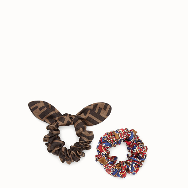 FENDI HAIR ELASTICS - Set of two multicolour silk hairbands - view 1 small thumbnail