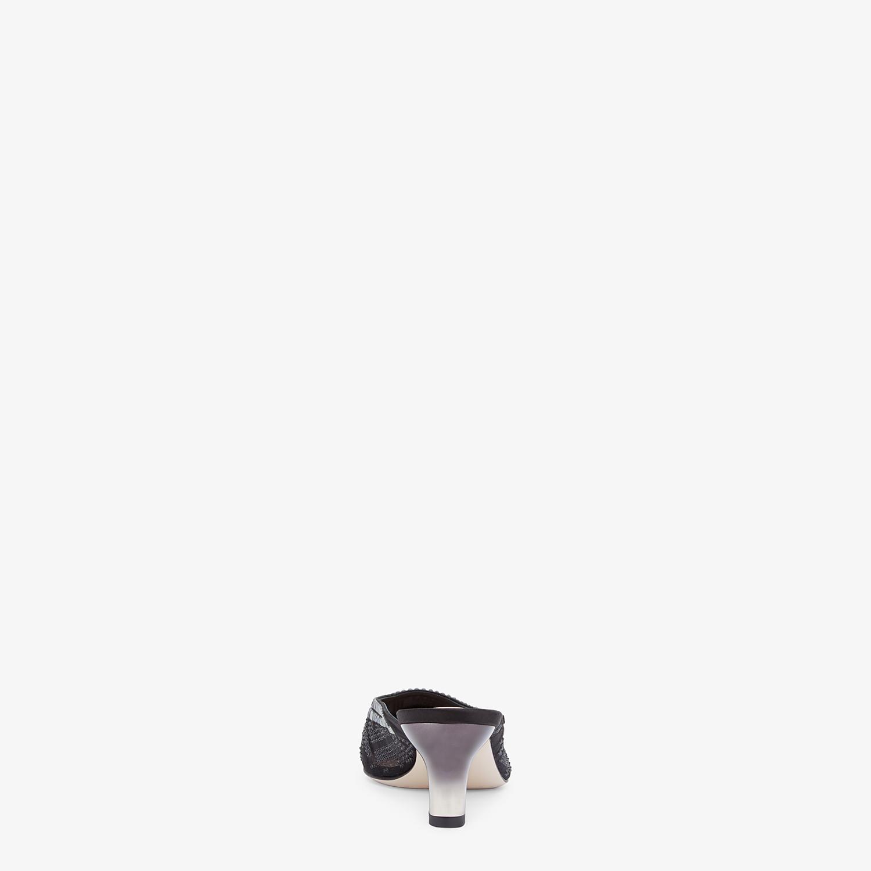 FENDI COLIBRÌ - Black mesh medium-heel sabots with rhinestone embroidery - view 3 detail