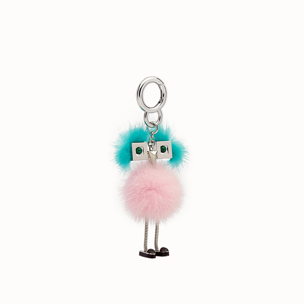 FENDI CHICK BAG CHARM - Charm in pink and light blue fur - view 1 small thumbnail