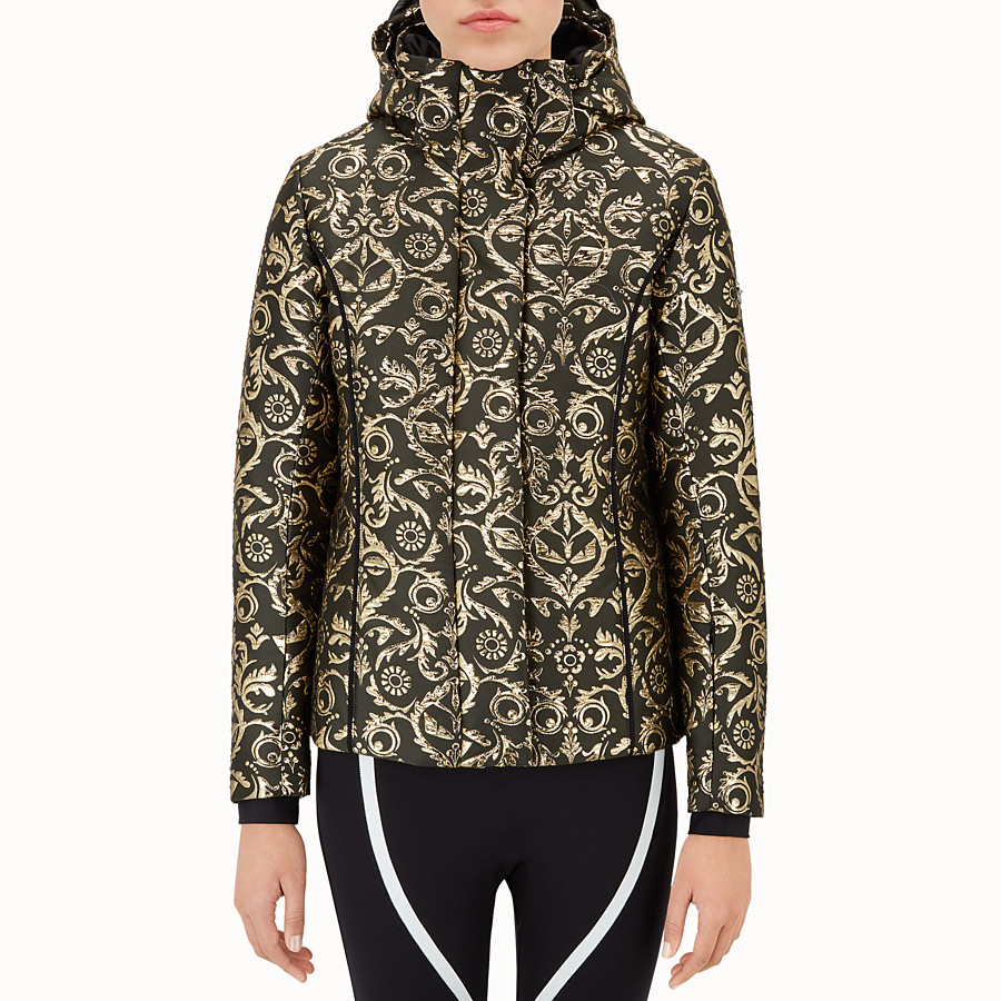 FENDI SKI JACKET - Padded jacket in gold brocade - view 1 detail