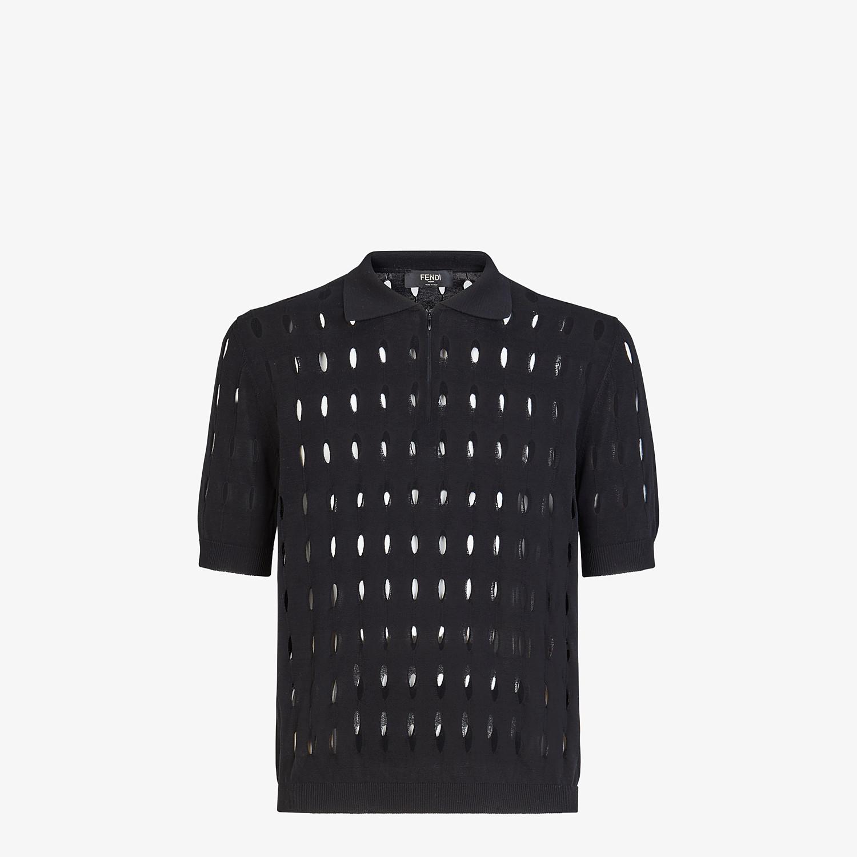 FENDI POLO SHIRT - Black cotton sweater - view 1 detail