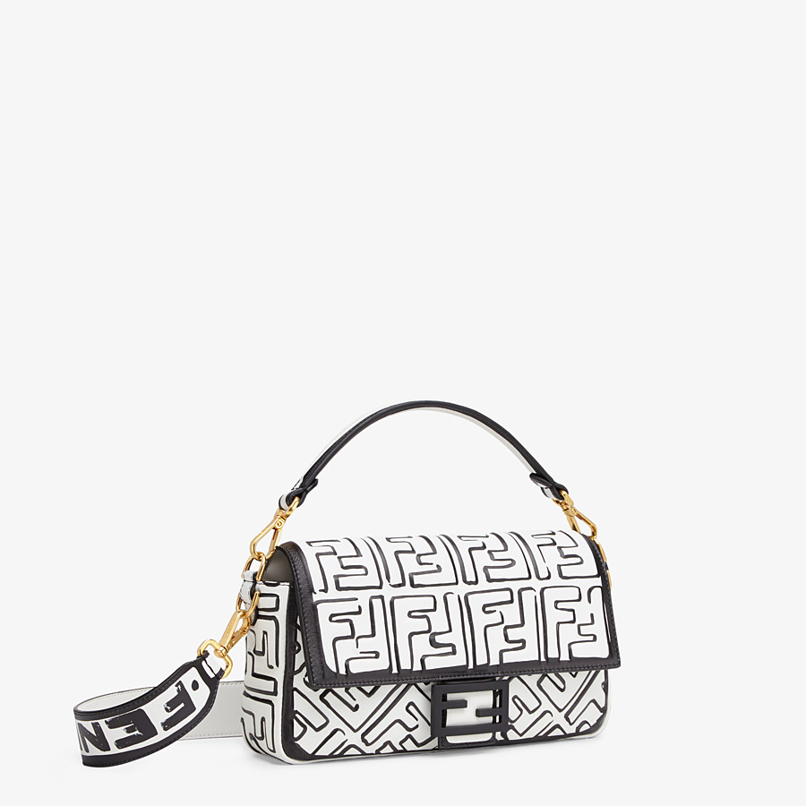 FENDI BAGUETTE - White nappa leather FF print bag - view 3 detail