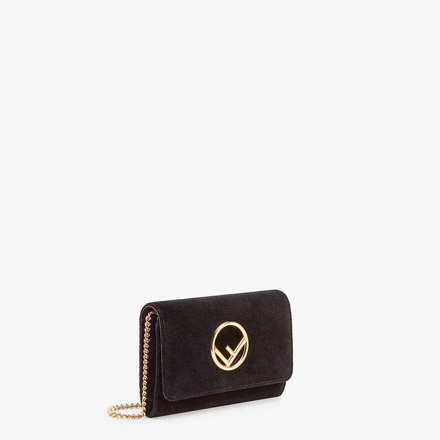 FENDI WALLET ON CHAIN - Black velvet mini-bag - view 2 detail