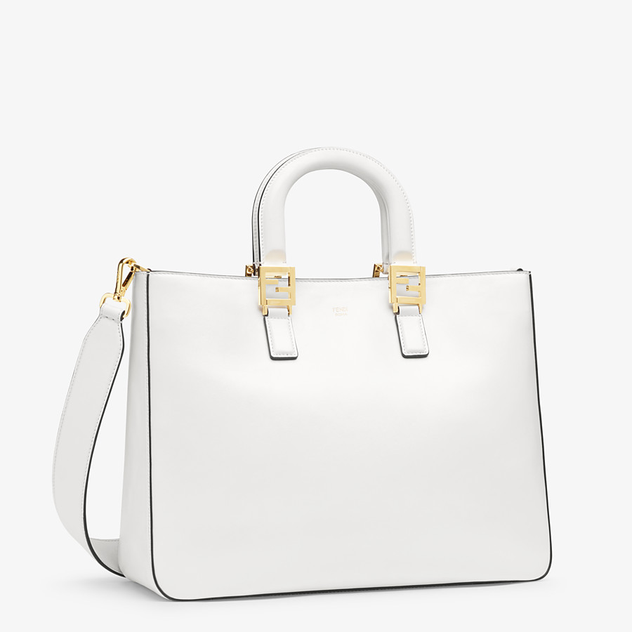 FENDI FF TOTE MEDIUM - White leather bag - view 3 detail