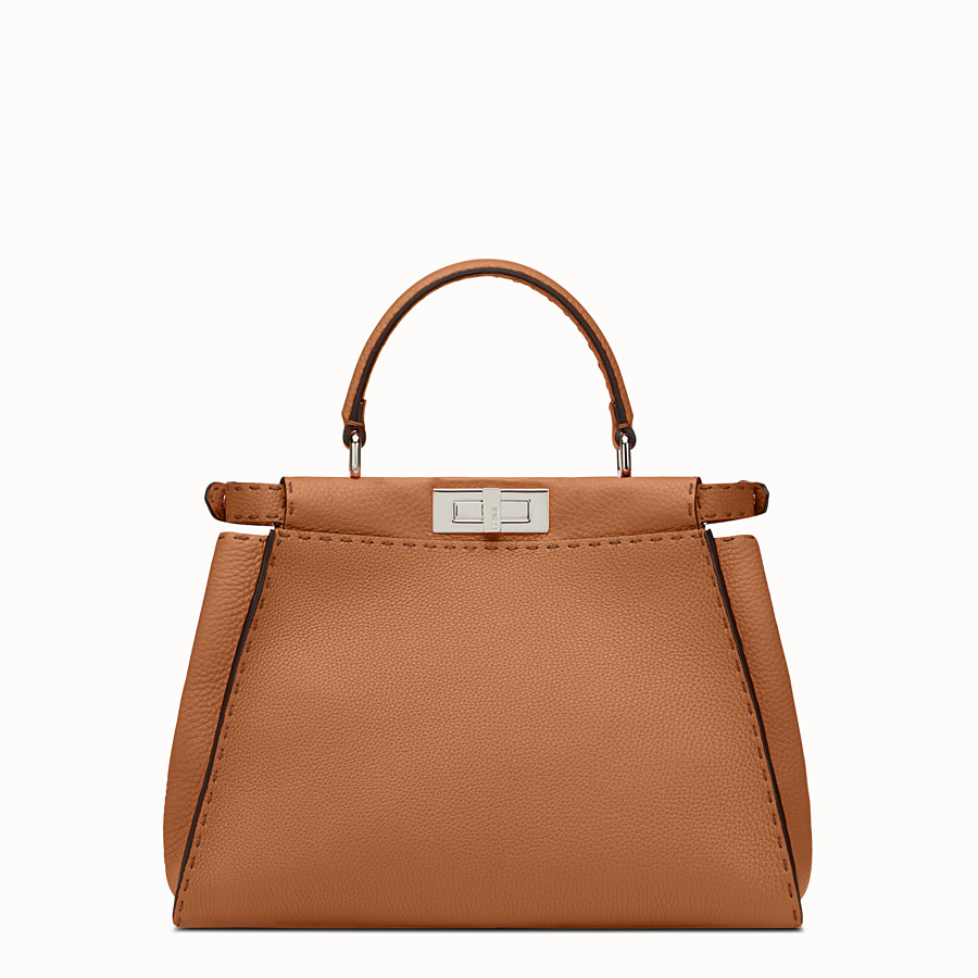 FENDI PEEKABOO REGULAR - bolso de mano de piel de color toffee - view 3 detail