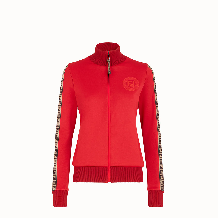 FENDI SWEATSHIRT - Red jersey sweatshirt - view 1 detail