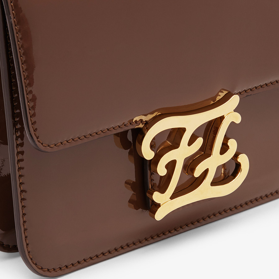 FENDI KARLIGRAPHY - Brown patent leather bag - view 6 detail