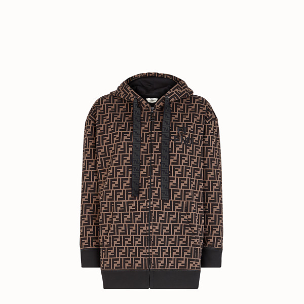 FENDI SWEATSHIRT - Brown cotton jersey sweatshirt - view 1 small thumbnail