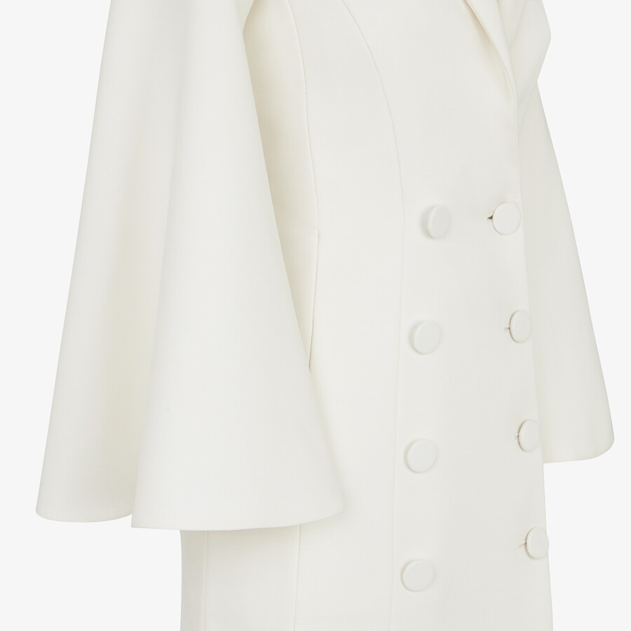 FENDI OVERCOAT - White silk and wool coat - view 3 detail