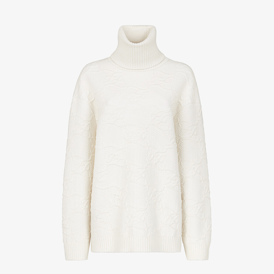 FENDI SWEATER - White wool and cashmere sweater - view 1 detail