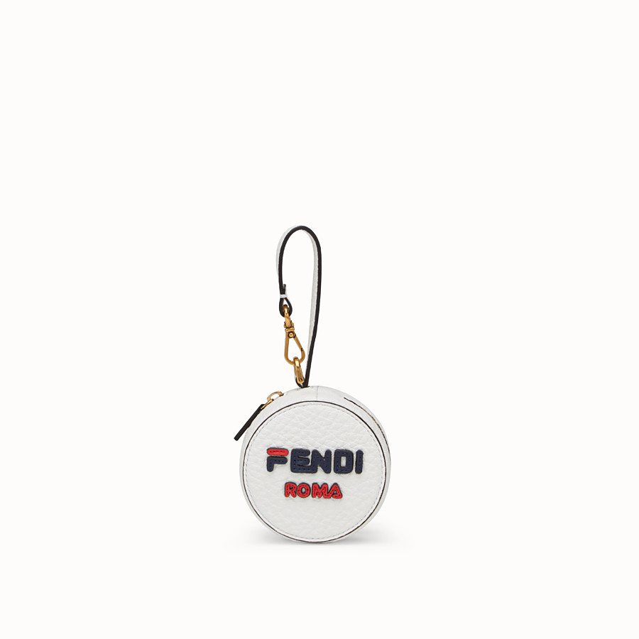 FENDI BACKPACK CHARM - White leather charm with fabric backpack - view 1 detail