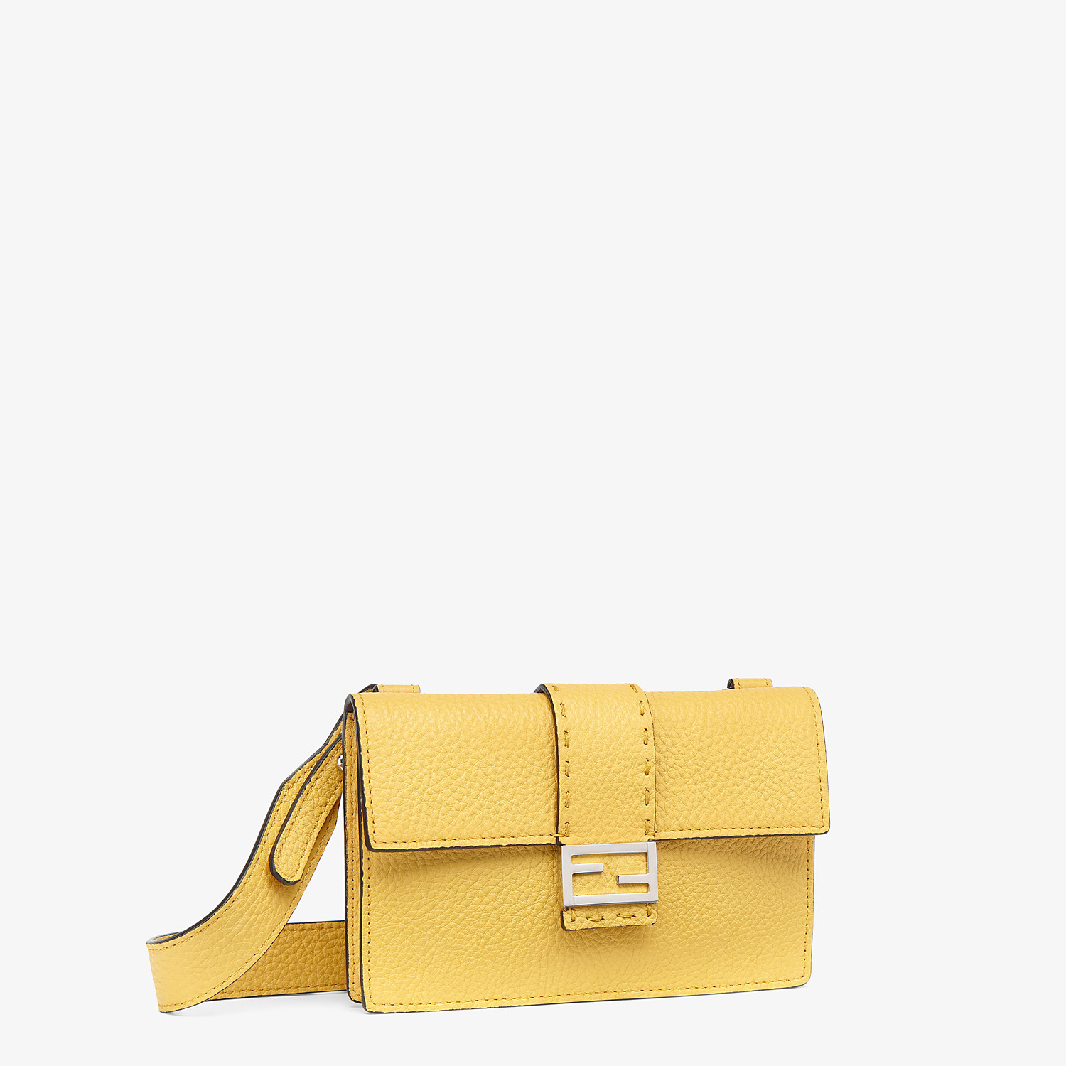 FENDI BAGUETTE POUCH - Yellow leather bag - view 2 detail